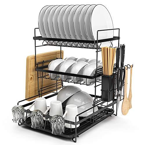 水切りラック キッチン収納ラック 食器乾燥ラック ディッシュラック 洗い物置き 皿立て ステンレス 3段 トレイ付き シンク調理台