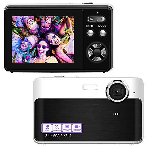 Digitalkamera Kompaktkamera 24MP Wiederaufladbare 2,4-Zoll-TFT-Bildschirm Mini-Fotoapparat Digitalkamera für Studenten, Jugendliche, Kinder