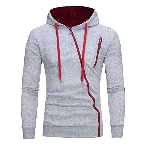 Herren Sportswear Set Traingsanzug Herren Casual Mantel Schrägem Reißverschluss Warme Kapuzen-Jacke-Pullover Outdoor Sport Mantel grau S