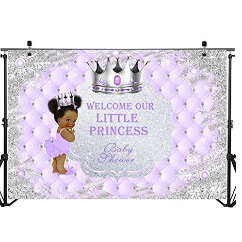 Vinilo 300 x 180 cm Little Princess Baby Shower Telón de fondo negro piel niña plata corona foto fondo bienvenida princesa fotografía