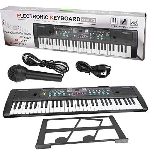 Teclado digital, 61 teclas, órgano electrónico, teclado de música digital portátil con micrófono, juguete para niños