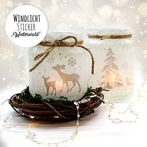 ilka parey wandtattoo-welt Feenlicht Feenwindlicht DIY Weihnachtsdeko Weihnachten Rehe Winterwald Tanne Sterne Schneeflocken Lichtdeko Winter Aufkleber Glas Sticker wl2