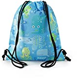 361º Drawstring Backpack for Kids, Waterproof Cinch Swim Bag Dry Wet Compartments, for Pool, Beach, School, Camping 12.9 inch x 15.7 inch