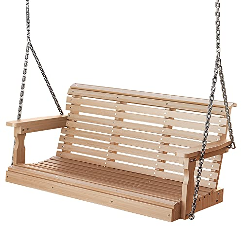 Porch Swing, Outdoor Poly Lumber Swing, Fade-Resistant Patio Swing, 600lbs Duty Rating, 304 SS Chains, All-Weather Garden Swing for Enjoying and Relaxing
