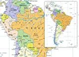 Amérique du Sud carte politique–en vinyle–130x 180cm