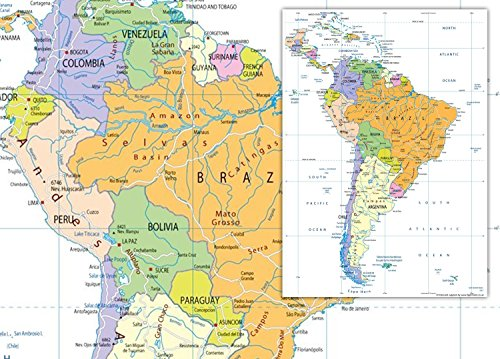 Südamerika politische Karte–VINYL–130x 180cm