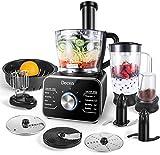 Decen Küchenmaschine Multifunktional, 1100W Food Processor mit 3 Geschwindigkeiten - Elektrischer Zerkleinerer, Standmixer, Zitruspresse, Kaffeemühle, 3.5L Rührschüssel, Silber