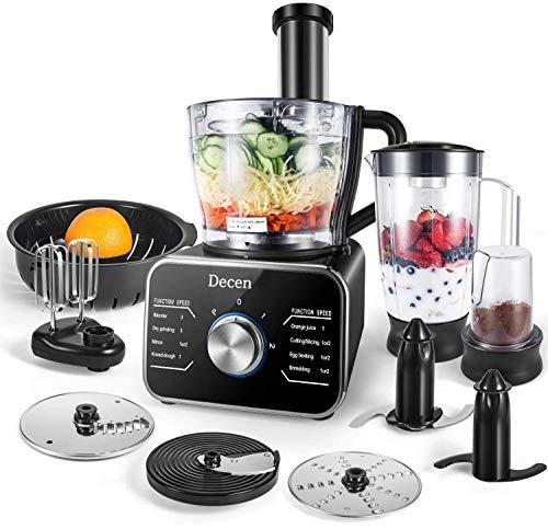 Decen Küchenmaschine Multifunktional, 1100W Food Processor mit 3 Geschwindigkeiten - Elektrischer Zerkleinerer, Standmixer, Zitruspresse, Kaffeemühle, 3.5L Rührschüssel