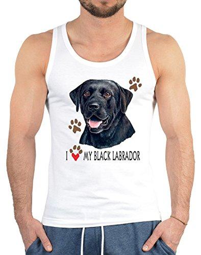 Schwarzer Labrador Tank Top Herren Träger Muskel Shirt - Geschenk Hundebesitzer Hundefreund - Hunde Motiv I Love My Black Labrador Portrait Tanktop in weiß Gr. S :