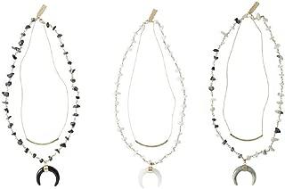 Mud Pie Crescent Layering Necklace (Black)