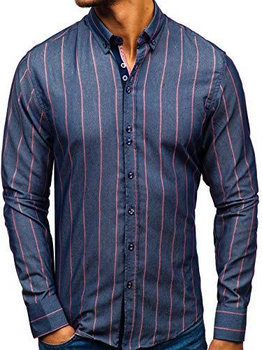 BOLF Camicia – Manica Lunga – A Righe – Abbottonata – Button Down – Slim Fit – Cotone – da Uomo 8837 Blu L [2B2]