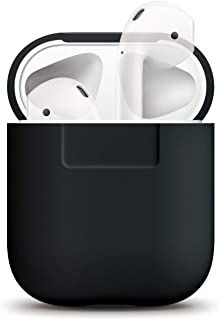 elago AirPods Silicone Case Protective Cover - Perfect Fit, Front LED Not Visible, Slim and Lightweight, Support Wireless Charging, Compatible with AirPods 2 & 1 (Black)