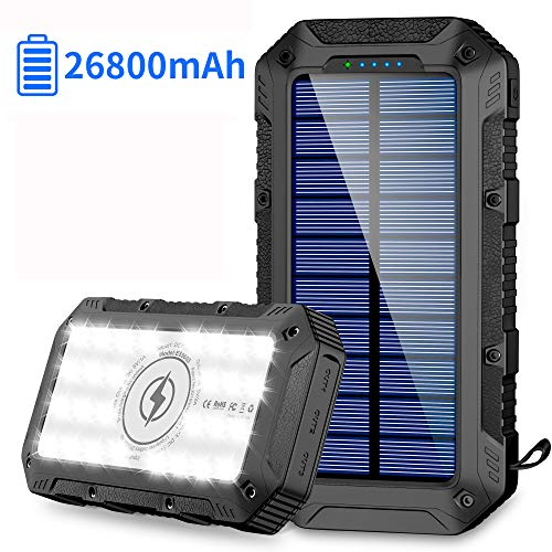 Powerbank Solare 26800mAh Caricabatterie Portatile Wireless Qi Batteria Esterna Solare con 4 Porte di Uscita(3USB+Qi) e Torcia a 28 LED 2 Modalità di Ricarica(Solare+USB) per Campeggio Android iOS