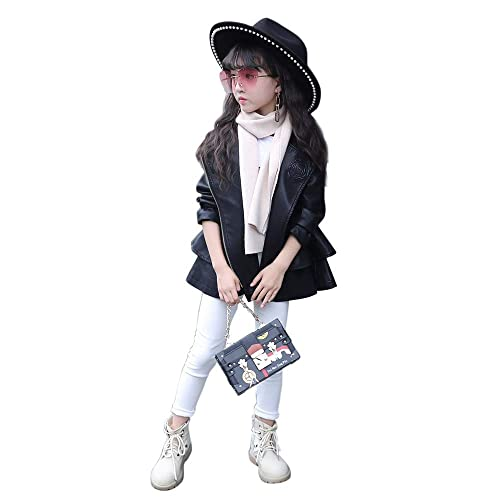 ab3b12009f05d The Twins Dream Girls Faux Leather Coat Toddler Jacket for Kids Dress Coat  with Emboss Rose