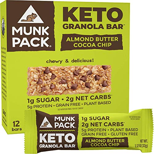 Munk Pack: Keto Granola Bar - Almond Butter Cocoa Chip - 1g Sugar, 2g Net Carbs - 12 Pack - Gluten-Free Keto Snacks - Plant Based Paleo and Keto-Friendly - No Grain, Soy or Added Sugar - Delicious