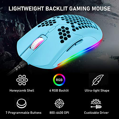 4-in-1 Gaming Keyboard Mouse Combo,87 Keys Rainbow Backlit Mechanical Keyboard,RGB Backlit 6400 DPI Lightweight Gaming Mouse with Honeycomb Shell ,3.5mm Gaming Stereo Headset for PC Laptop Computer