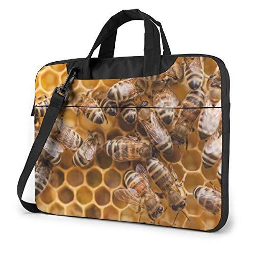 Laptop Shoulder Bag,Honey Bee Hive Shockproof Laptop Sleeve Cover Business Messenger Bag Briefcase Handbag Case 15.6 inch