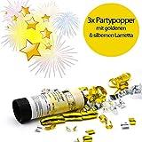 L+H Silvester Party Set 2021 | Party Deko Set mit über 15 Premium-Teilen | 10x hochwertige ökologische Trinkhalme, 3X Partypopper, 6X Partyhüte wiederverwendbar | Happy New Year Dekoration - 4