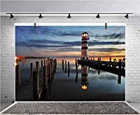 GooEoo 7x5ft 湾の夕暮れの灯台穏やかな風景写真の背景子供の誕生日パーティーバナー写真スタジオの小道具家族のパーティーの誕生日の背景ベビーシャワーの装飾ビニール素材