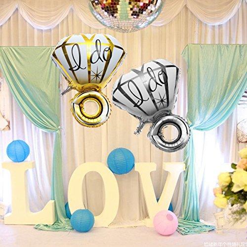 WZhen Globo de aluminio con anillo de diamante grande I Do Globos Propuesta de San Valentín Decoración de fiesta de boda - Oro