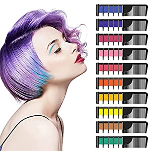 YUHENGLE Peine de tiza para el cabello, 10 colores, peine de tiza temporal para el cabello, regalos para niñas y niños, 5 colores con purpurina metálica y 5 colores regulares, para carnaval, Halloween