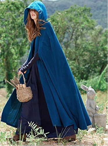 Capa Medieval Abrigo con Capucha Thin Women Vintage Gothic Cape Coat Long Trench Overcoat 2019 Mujeres Halloween Cosplay Disfraz Cloak XL Blue