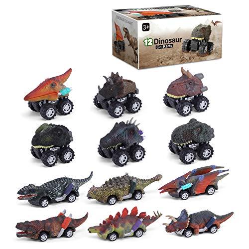 YouCute 12 Stück Auto Spielzeug für 2 3 4 Jahre alte Jungen ziehen Dinosaurier Auto Fahrzeuge LKW Party begünstigt Weihnachten Geburtstagsgeschenk für Alter 5 6 Mädchen Kleinkinder Kinder