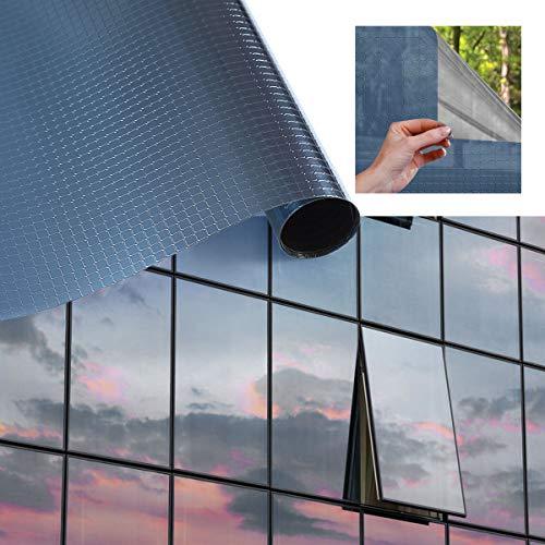 iKINLO Film de protection solaire en PVC sans colle Film de protection contre la chaleur Film de protection UV Film transparent anti-rayures pour fenêtre de balcon, fenêtre, PVC, bleu, 75X300cm