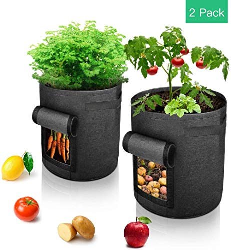 BSZ Potato Grow Bag, Vegetable Grow Plant Bags with Handles and Access Flap for Vegetables, Fruits, Onion, Carrot, Home Grow Bag,2 Pack
