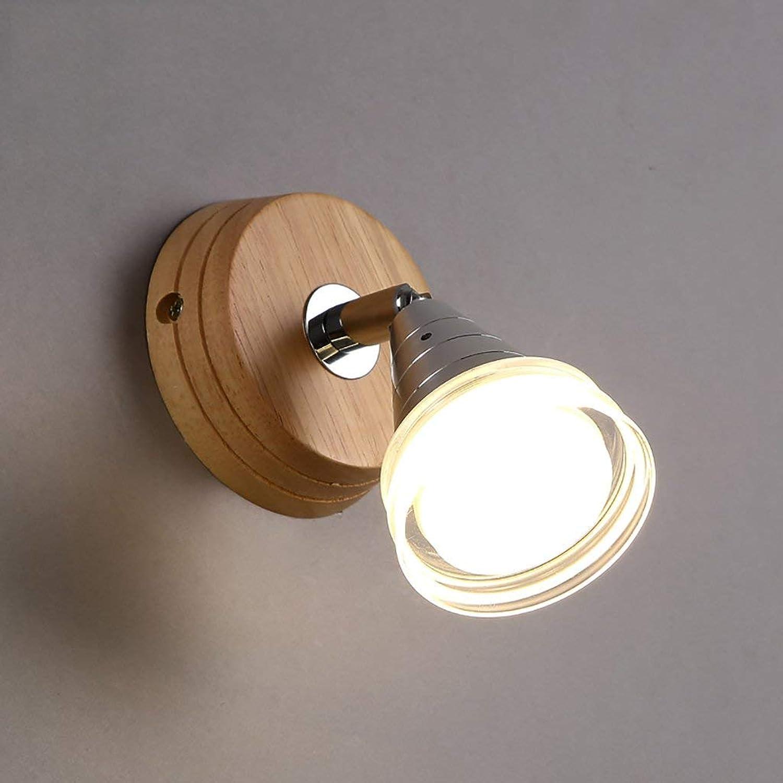 Wandleuchten einfache LED-Wandleuchte Wohnzimmer Beleuchtung Schlafzimmer Nachttischlampe kreative Gang massiv Holz Wandleuchten dekorative Wandleuchten (Farbe  A)