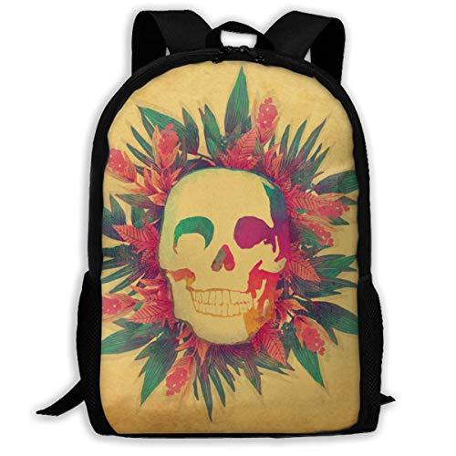 HOJJP ñ mochila escolar von ruedas Travel Backpack Laptop Backpack Large Diaper Bag - Skull and Flowers Backpack School Backpack for Women & Men