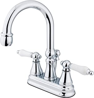 Kingston Brass KS2611PL Governor 4-Inch Centerset Lavatory Faucet with Brass Pop-Up and Porcelain Lever Handle, Polished C...