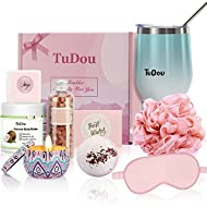Birthday Gifts for Women, Pamper Hamper Bath Set for Her, Mum Relaxing Spa Gift Box with Wine Tumble...