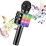 ShinePick Microfono Karaoke, 4 in 1 Bluetooth Wireless LED Flash Microfono Portatile Karaoke Player con Altoparlante per Android/iOS, PC e Smartphone(Nero)