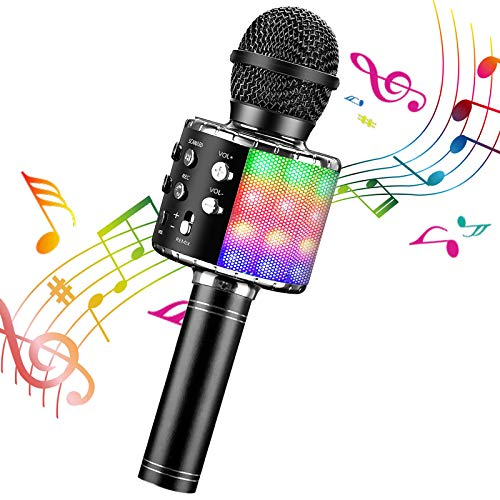 ShinePick Microfono Karaoke, 4 in 1 Bluetooth Wireless LED Flash Microfono Portatile Karaoke Player con Altoparlante per Android/iOS, PC e Smartphone(Nero)