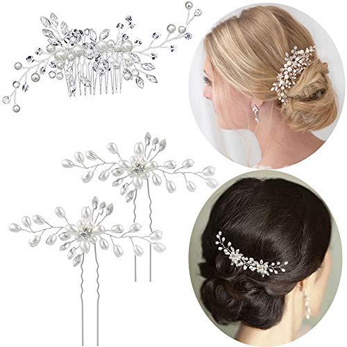 3pcs Bijoux Cheveux Perles Épingle à cheveux Perles Peigne...
