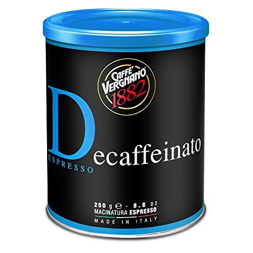Caffè Vergnano 1882 Lattina Caffè 100% Arabica Macinato Decaffeinato - 6 confezioni da 250 gr (totale 1,5 Kg)