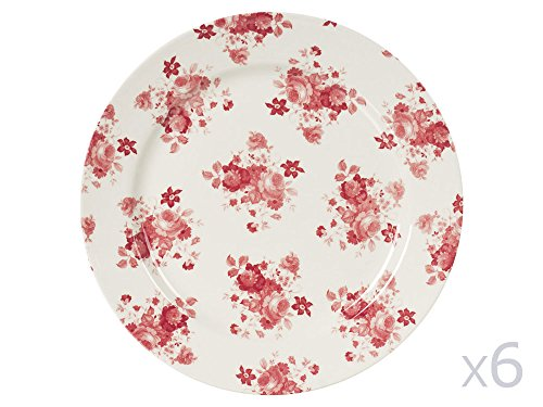 ASS PLATE 26CM LILLY ROSE (LOT DE 6)