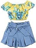 Kids Baby Girls Outfits Floral Ruffle Off Shoulder Crop Tops + Bowknot Denim Shorts Skirt Set Toddler Summer Clothes (Blue, 2-3T)