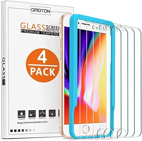 [4 Stück] OMOTON Schutzfolie kompatibel für iPhone 8/7/ 6/ 6s,mit Schablone,9H Härte,Anti-Kratzen,Anti-Öl,Anti-Bläschen