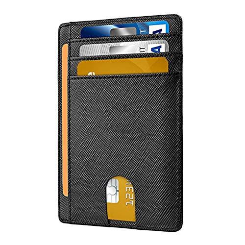 Geldbörse mit Magic Clip und Kartenfächern, aus echtem Leder - Schwarz - Schlank
