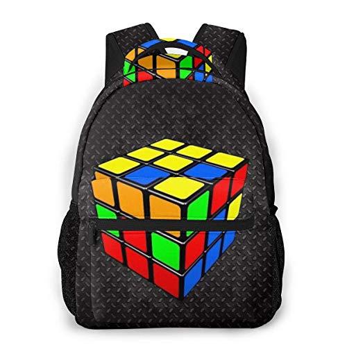 NA Colorido Cubo Rubik Mochila negra con correas ajustables para el hombro, mochila de camping al aire libre de gran capacidad mochila mochila mochila antirrobo multiusos para niños y niñas