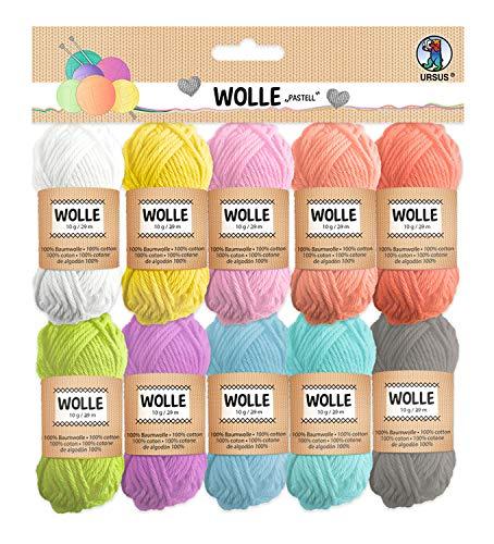 Ursus gomitoli di lana pastello, 100% cotone, g / 29 m, in 10 colori, per lavori a maglia e uncinetto e piccoli progetti di bricolage, taglia unica