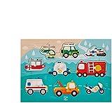 Hape- Puzzle à Boutons Véhicules Prioritaires, E1406, Beige