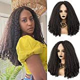 SOKU Long Kinky Curly Lace Front Wig Synthetic for Black Women Middle Part Afro Fluffy Hair Wigs Heat Friendly Swiss Lace 20 Inch Dark Brown