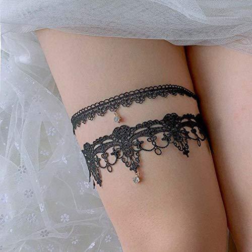 Liguero Mayelia para piernas de encaje negro para bodas, fiestas, liga de cristal para mujeres y niñas