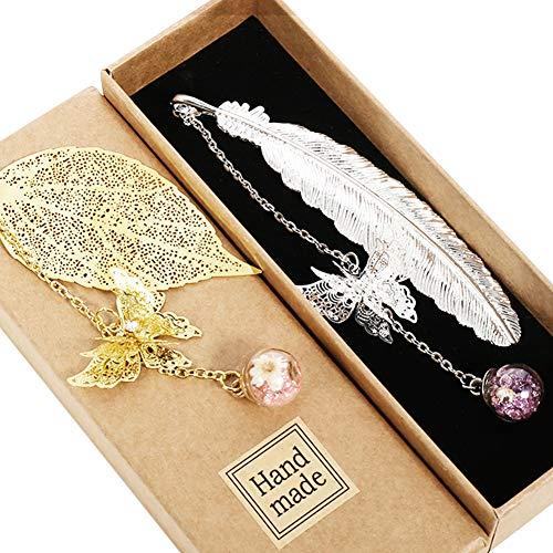 Veraing 2 Stücke Metall Feder Lesezeichen, 3D-Schmetterling und Glasperlen Ewige trockene Blume Anhänger Ideales Geschenk für Erwachsene, Kinder und Studenten