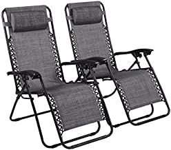 Naomi Home Zero Gravity Chairs, Lounge Patio Outdoor Recliner Chairs Gray/Set of 2