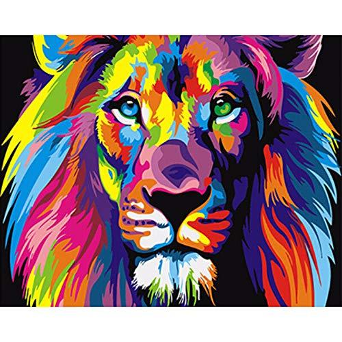TWEN-520 Colorido León Paintng by Numbers DIY Abstract Animals Digital Wall Canvas Art Imagen para Colorear por números para la decoración del hogar-40*50cm