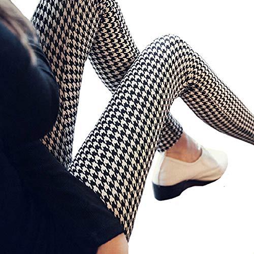 YHWW Leggings,Lässige Leggings Frauen Schwarz Plus Size Elastic Leggings Frauen Fitness Sport Gym Hohe Taille Hosen Push Up Spandex Legging, W056 Hahnentritt, S.